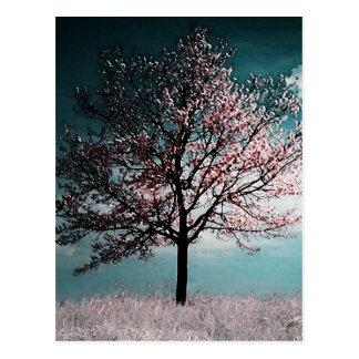 Cartão Postal Pintura da árvore da flor de cerejeira -