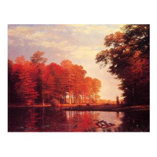 Cartão Postal Pintura da lagoa do outono do vintage