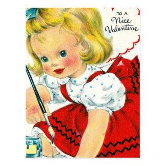Cartão Postal Pintura da menina dos namorados do vintage