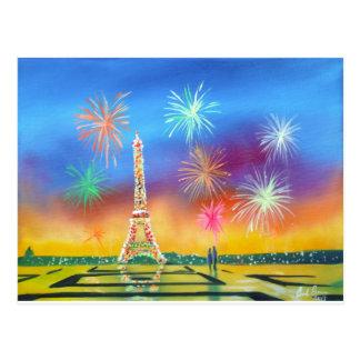 Cartão Postal Pintura da torre Eiffel em Paris