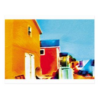 Cartão Postal Pintura das barracas da pesca