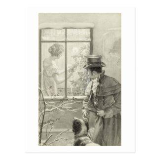 Cartão Postal Pintura de cena do feriado do vintage com um