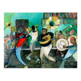 """Cartão Postal Pintura de """"jazz da música Nova Orleães """""""