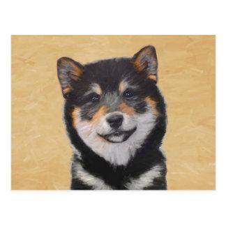 Cartão Postal Pintura de Shiba Inu (preto e Tan) - arte do cão