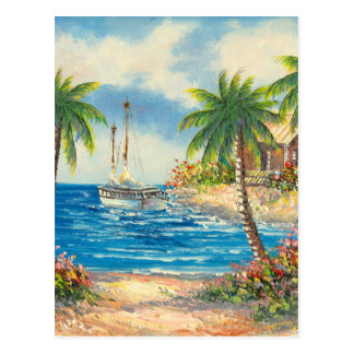 Cartão Postal Pintura de um veleiro em Havaí