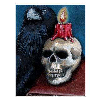 Cartão Postal Pintura do corvo, do crânio & da vela do Dia das