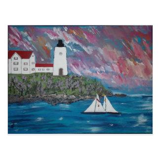 Cartão Postal Pintura do farol de Maine
