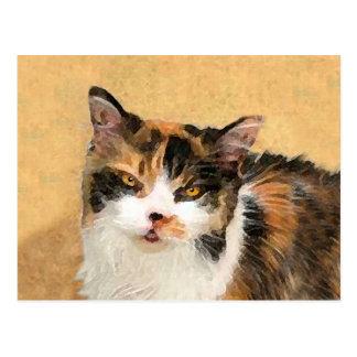 Cartão Postal Pintura do gato de chita - arte original bonito do