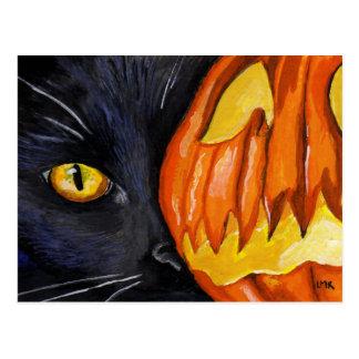 Cartão Postal Pintura do gato preto & da abóbora do Dia das
