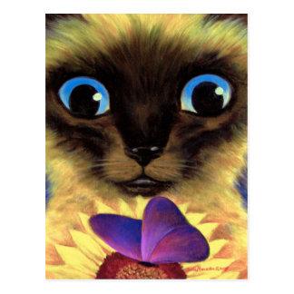 Cartão Postal Pintura do gato Siamese com a borboleta - multi