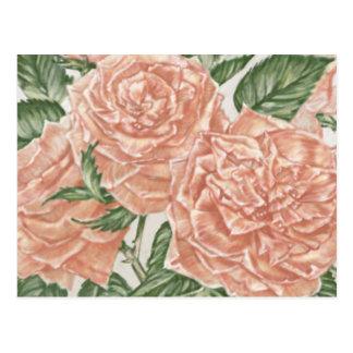 Cartão Postal Pintura do jardim dos rosas do abricó