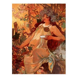 Cartão Postal Pintura do outono de Nouveau da arte de Alfons