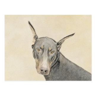 Cartão Postal Pintura do Pinscher do Doberman - arte original do