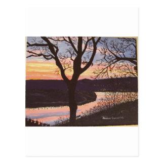 Cartão Postal Pintura do por do sol de Arkansas River