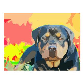 Cartão Postal Pintura do retrato de Rottweiler