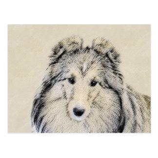 Cartão Postal Pintura do Sheepdog de Shetland - arte original