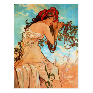 Cartão Postal Pintura do verão de Nouveau da arte de Alfons