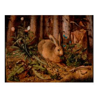 Cartão Postal Pintura européia por o ano 2023 do coelho