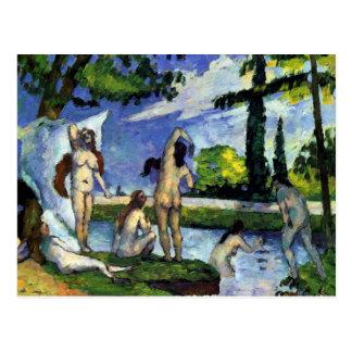Cartão Postal Pintura impressionista por bathers de Cezanne no
