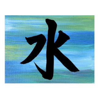 Cartão Postal Pintura japonesa do abstrato da água do símbolo do