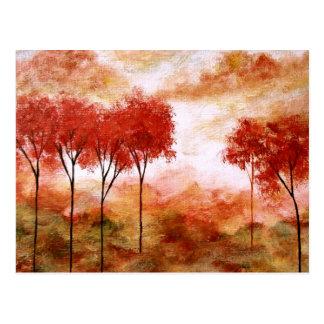 Cartão Postal Pintura magro vermelha das árvores da arte