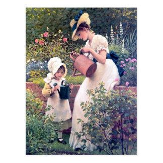 Cartão Postal Pintura molhando das flores da filha da mãe
