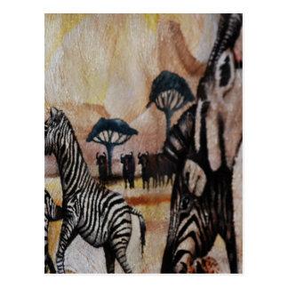 Cartão Postal Pintura mural da zebra