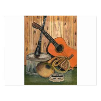 Cartão Postal Pintura Música-temático da arte da guitarra