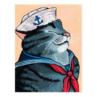 Cartão Postal Pintura náutica do gato de gato malhado do gato do