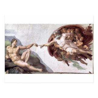 Cartão Postal Pintura original de Michelangelo na capela Roma do
