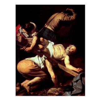 """Cartão Postal Pintura original """"La crocifissione di s Pietro """""""