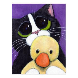 Cartão Postal Pintura Scared do gato do smoking e do pato do