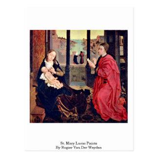 Cartão Postal Pinturas de St Mary Lucas por Rogier van der