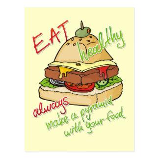 Cartão Postal Pirâmide saudável do hamburguer comer