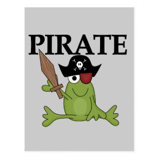 Cartão Postal Pirata do sapo com camiseta e presentes da espada