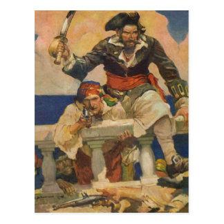 Cartão Postal Piratas que embarcam o navio
