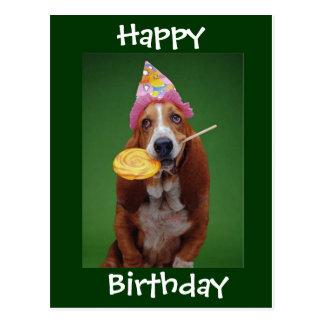Cartão Postal Pirulito do aniversário de Basset Hound
