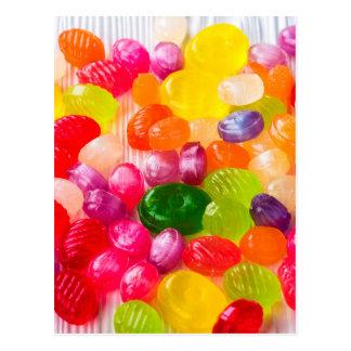 Cartão Postal Pirulito doce colorido da comida dos doces