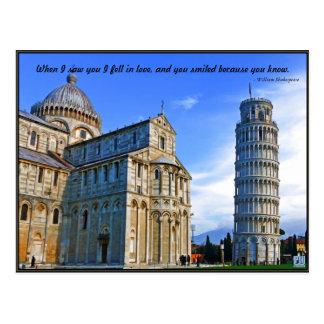 Cartão Postal Pisa a torre inclinada com citações do amor