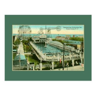 Cartão Postal Piscina Coney Island NY da corrida de obstáculos