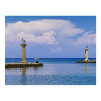 Cartão Postal Piscina, o Rodes, estátua dos cervos no porto de