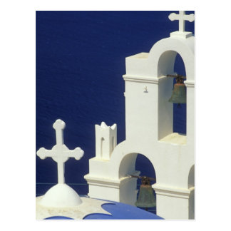 Cartão Postal Piscina, Santorini. Vista de uma igreja grega e