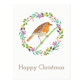 Cartão Postal Pisco de peito vermelho o pássaro do Natal