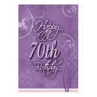Cartão Postal Pizazz roxo para o aniversário do 70