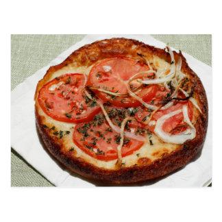 Cartão Postal Pizza da cebola do tomate