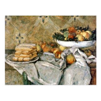 Cartão Postal Placa com frutas e dedos do sponger - Cézanne