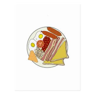 Cartão Postal Placa fritada do pequeno almoço inglês