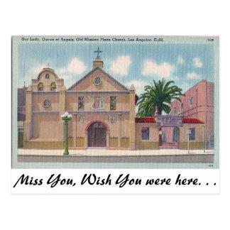 Cartão Postal Plaza velha da missão, Los Angeles, Califórnia