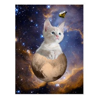 Cartão Postal Pluto, gatinho, e New Horizons, nebulosa e