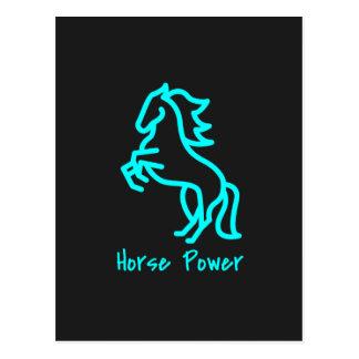 Cartão Postal Poder de cavalo no azul